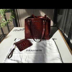 Brahmin embossed Leather handbag and ladies wallet